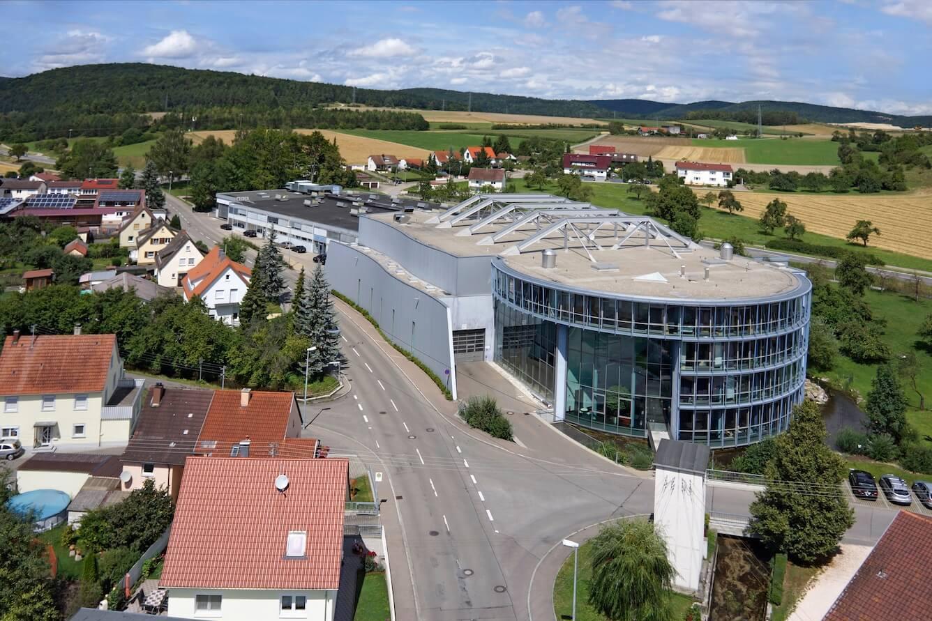 Letecký pohľad na sídlo spoločnosti Burgmaier v Allmendingen
